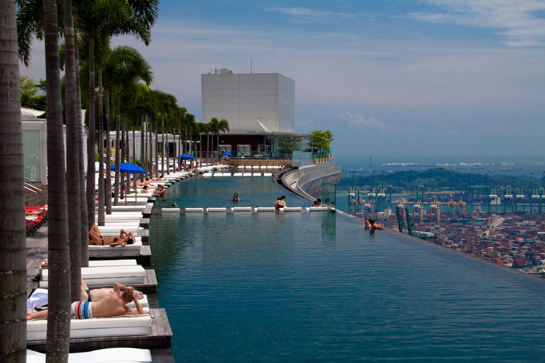 The amazing roof pool at the Marina Bay Hotel in Singapore