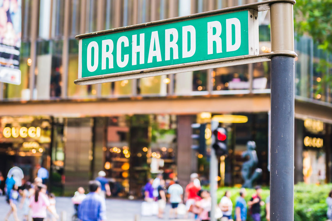 The famous Orchard Road, famous for its shops and malls in Singapore