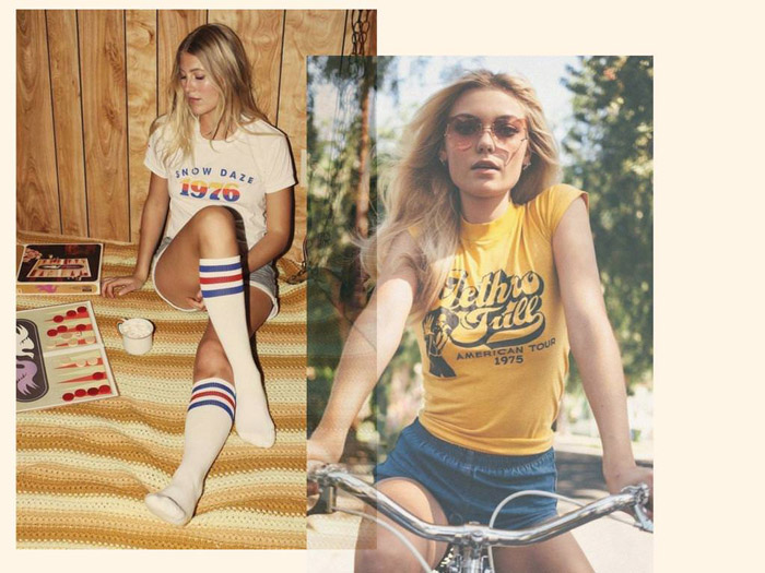 The iconic tees with must have graphics are an important element for your 70s California girls style